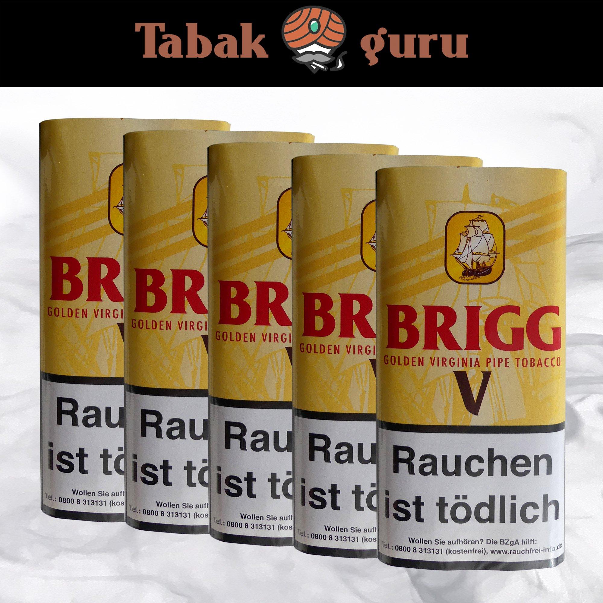 5x Brigg V Pouches Pfeifentabak à 40g  mit Vanille-Aroma