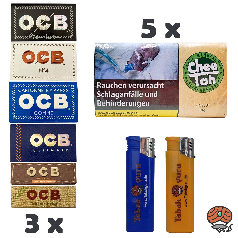 5 x Chee Tah Grün Drehtabak Pouch, 3 x OCB Papers