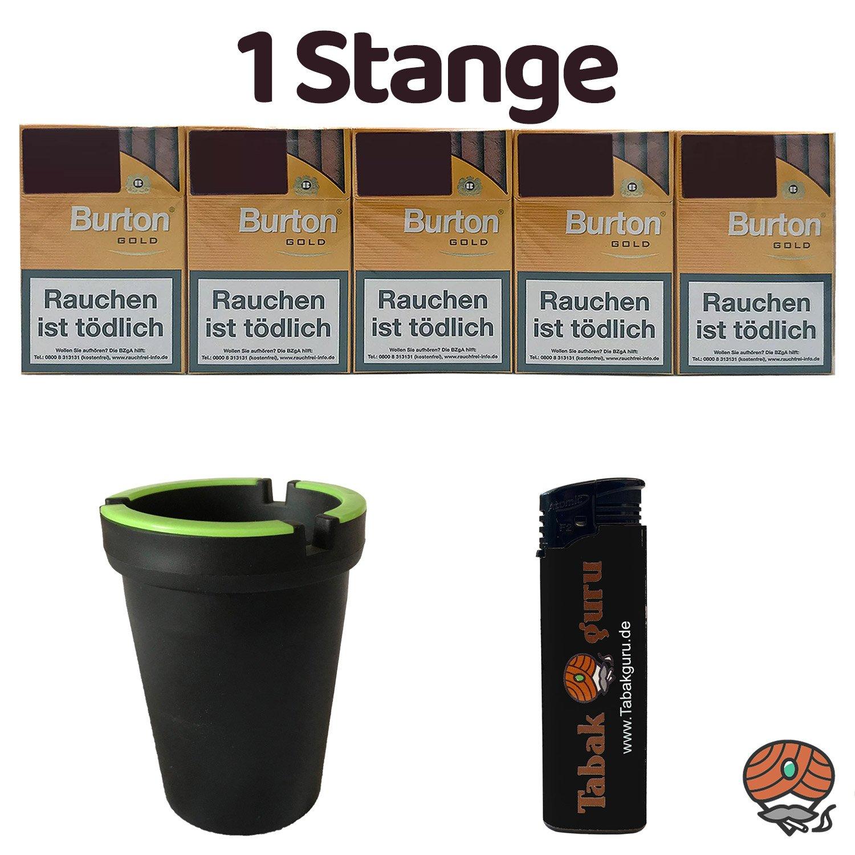 1 Stange Burton Gold Filter Zigarillos (17 Stück / Schachtel) + Zubehör (Autoascher)