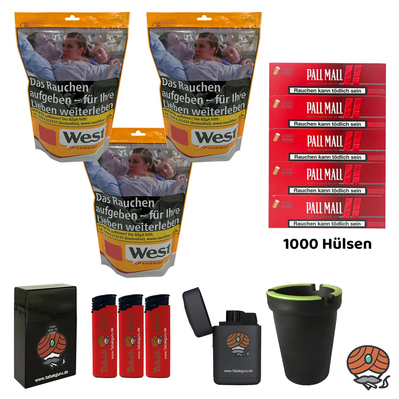 3x West Yellow 120g Tabak/Volumentabak Beutel, Pall Mall Hülsen, Feuerzeuge, Zubehör