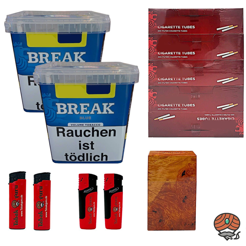 2 x Break Blue / Blau Volumentabak Giga Box 230 g + 1000 Hülsen + Zubehör