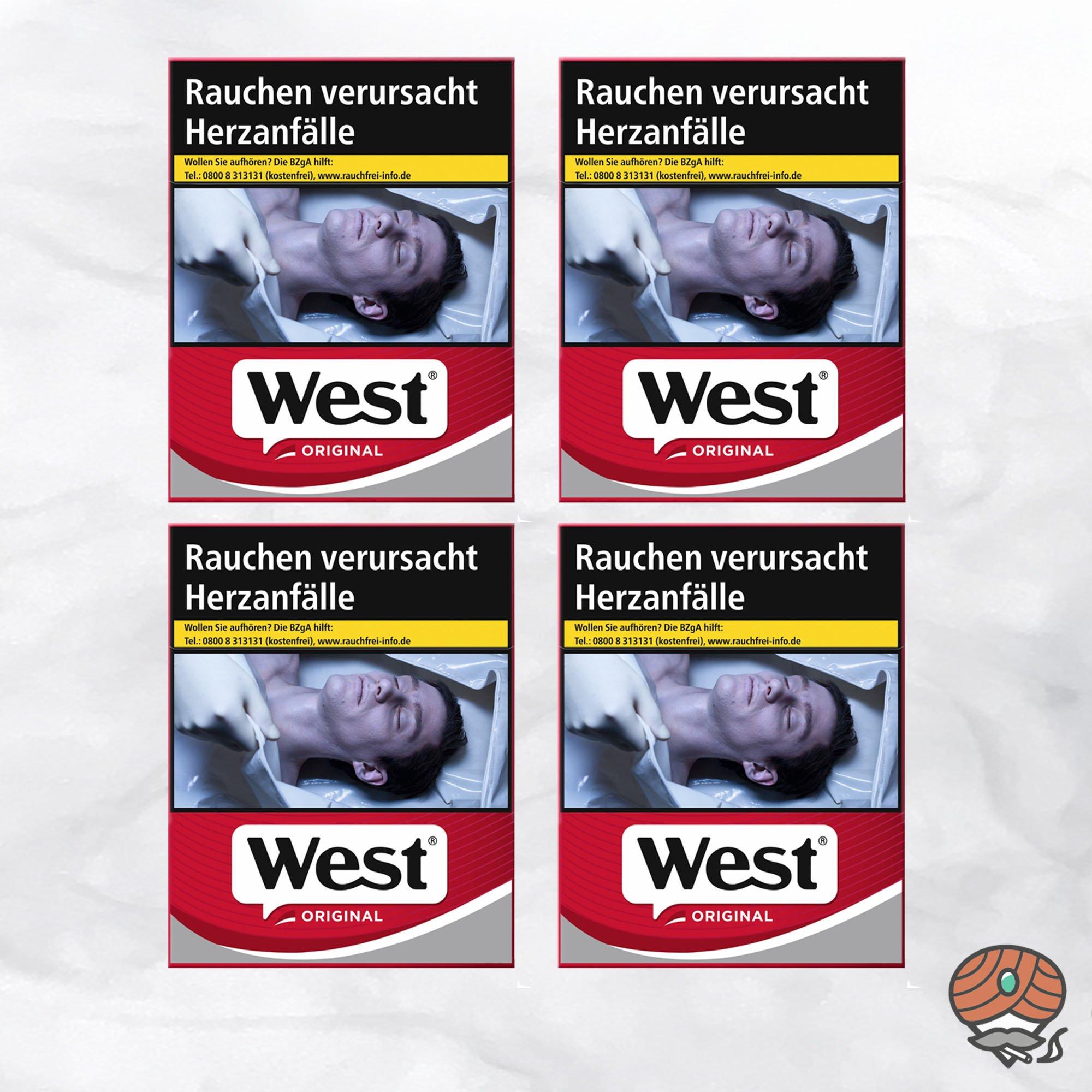 4 x West Red Zigaretten à 38 Stück