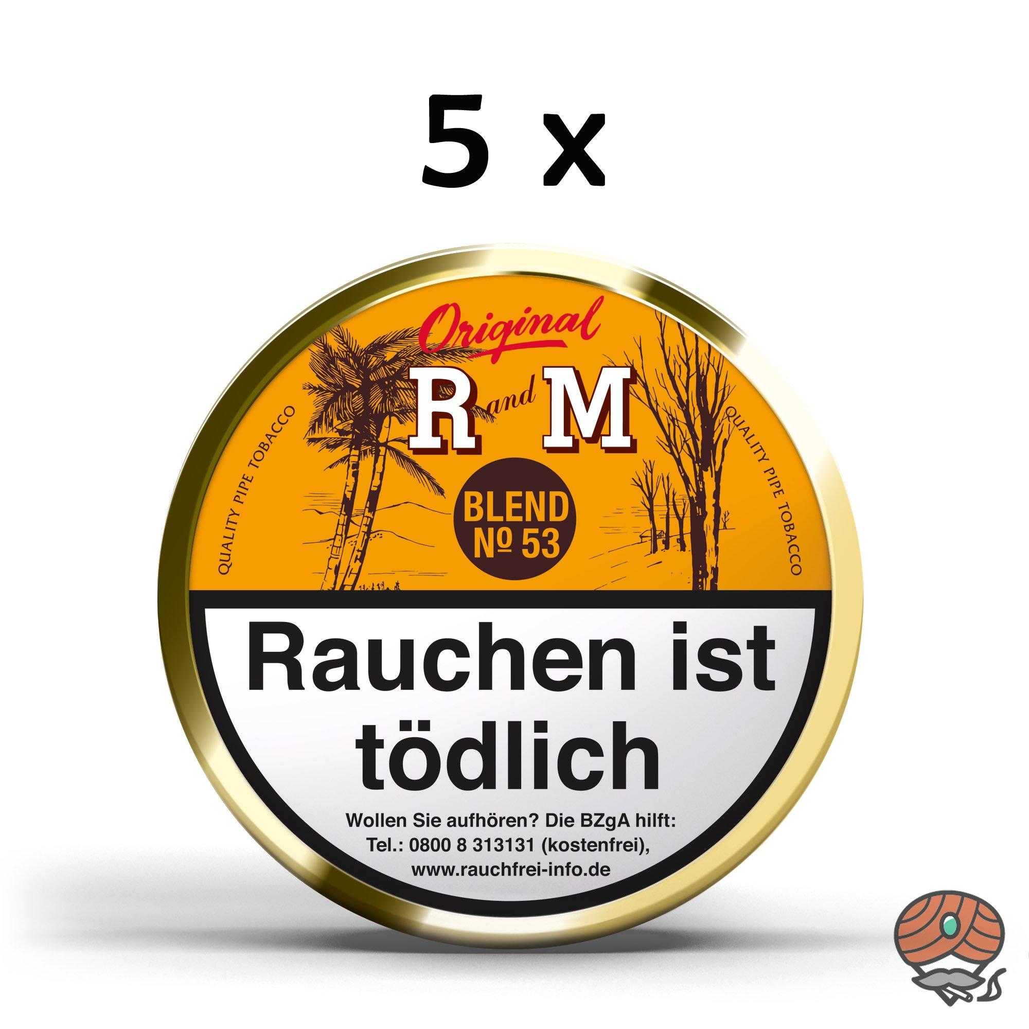 5 x R und M (Rum and Maple) Original Blend No. 53 Pfeifentabak à 100g