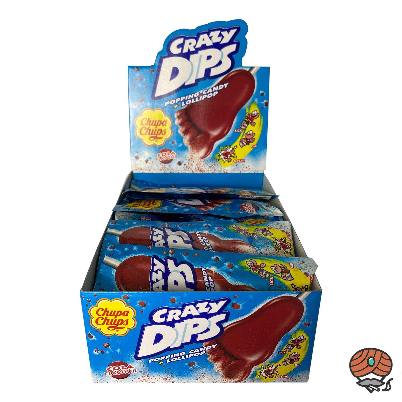 24 x Chupa Chups Crazy Dips Cola Geschmack, Popping Candy + Lollipop 14 g