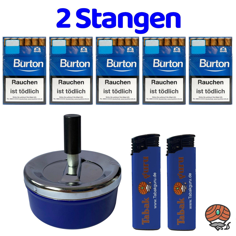 2 Stangen Burton Blau Filter Zigarillos (17 Stück / Schachtel) + Zubehör