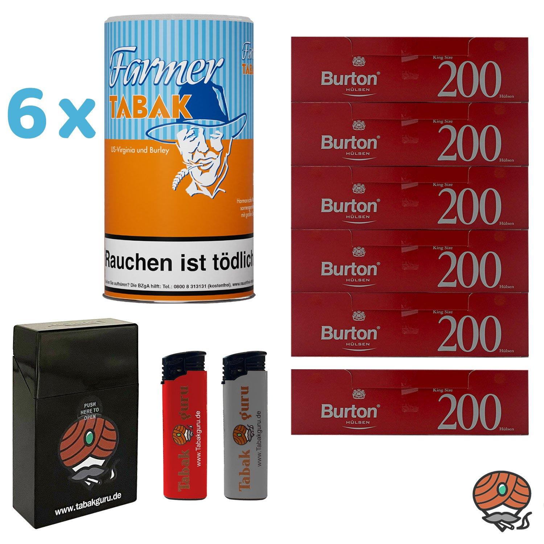 6x Farmer Tabak / Pfeifentabak Dose à 170g + 1.200 Burton Hülsen, Zubehör