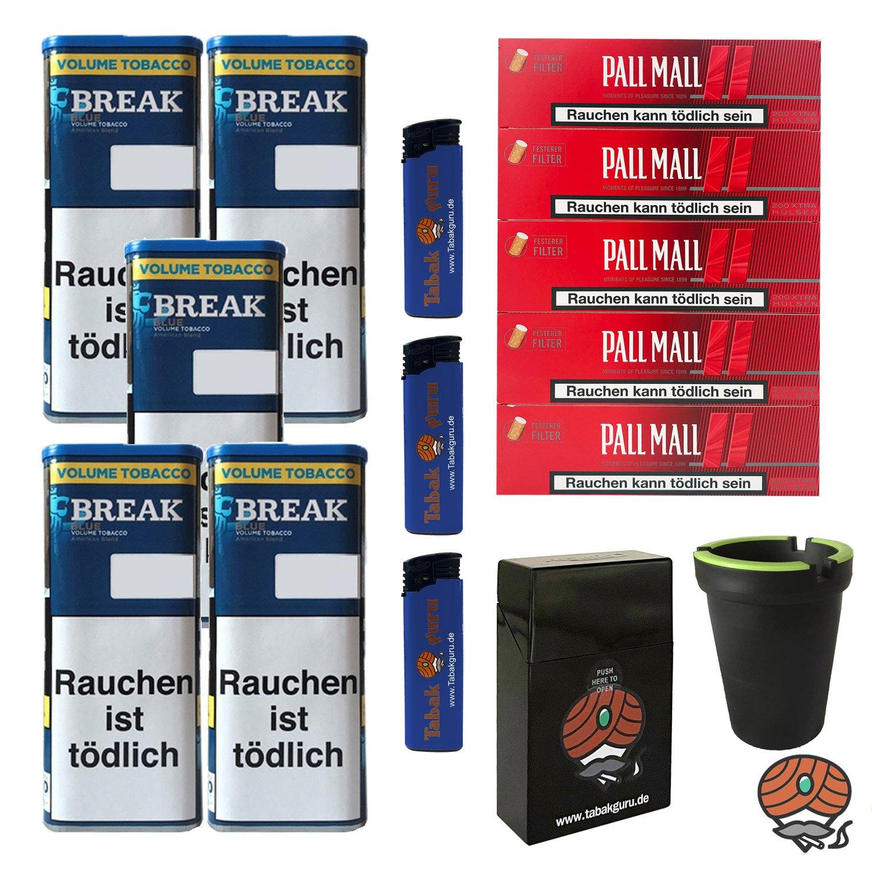 5x Break Blue/Blau Volumentabak 115g, Pall Mall Red Hülsen, Box,  Aschenbecher