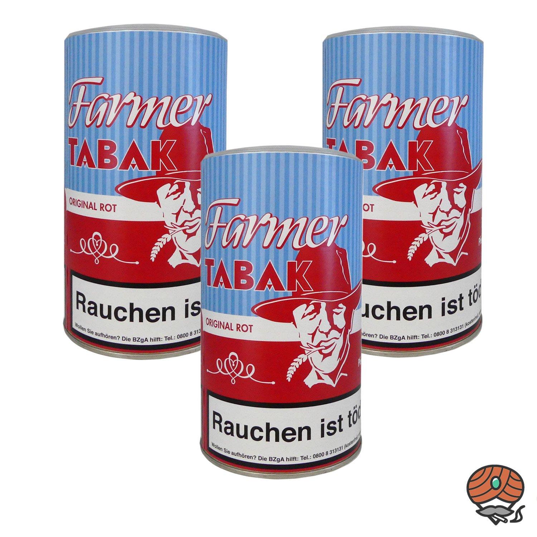 3 x Farmer Original Rot Tabak Pfeifentabak / Stopftabak 170 g Dose