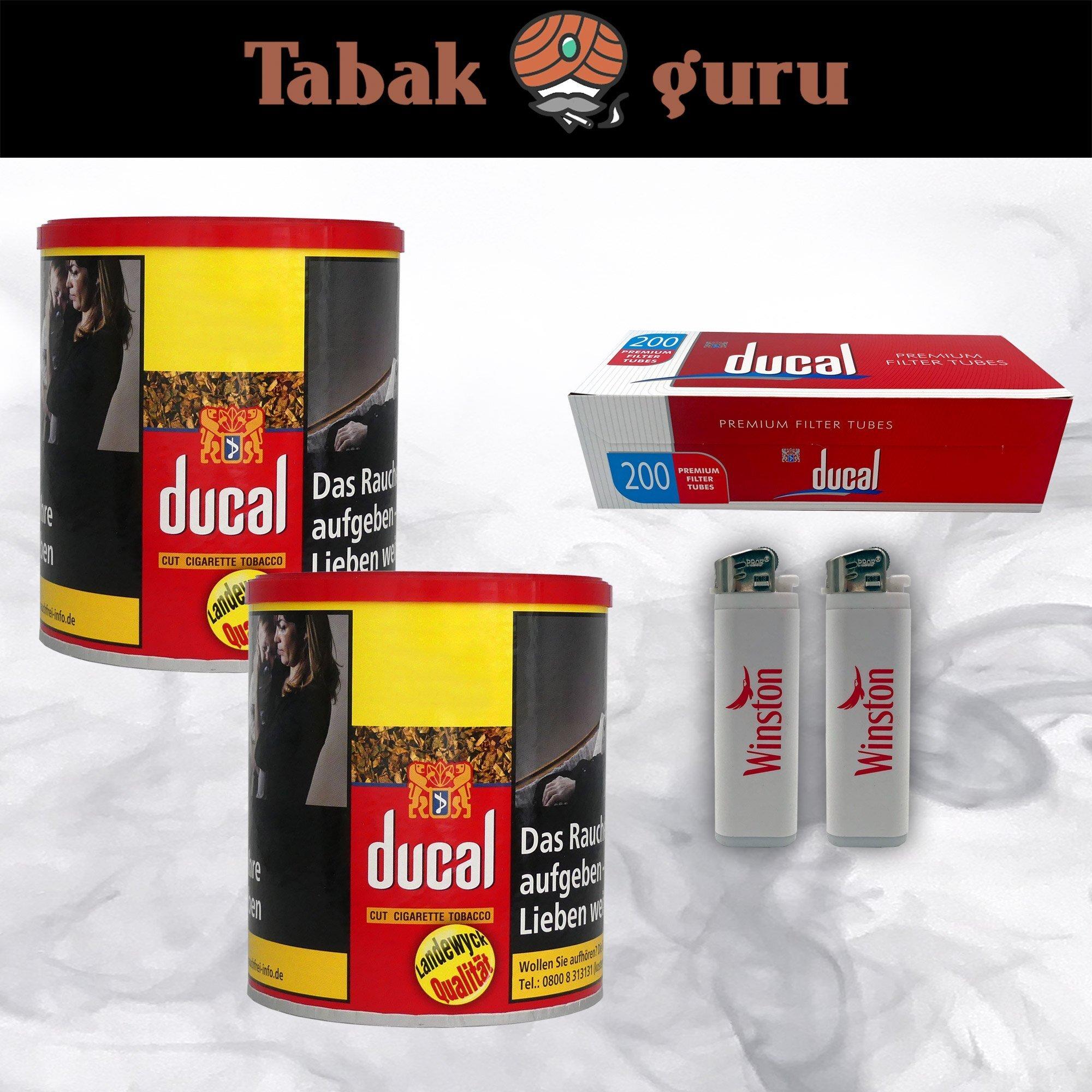 2 x Ducal Cut Tobacco Zigarettentabak 63g Dose + Ducal Hülsen + Feuerzeuge