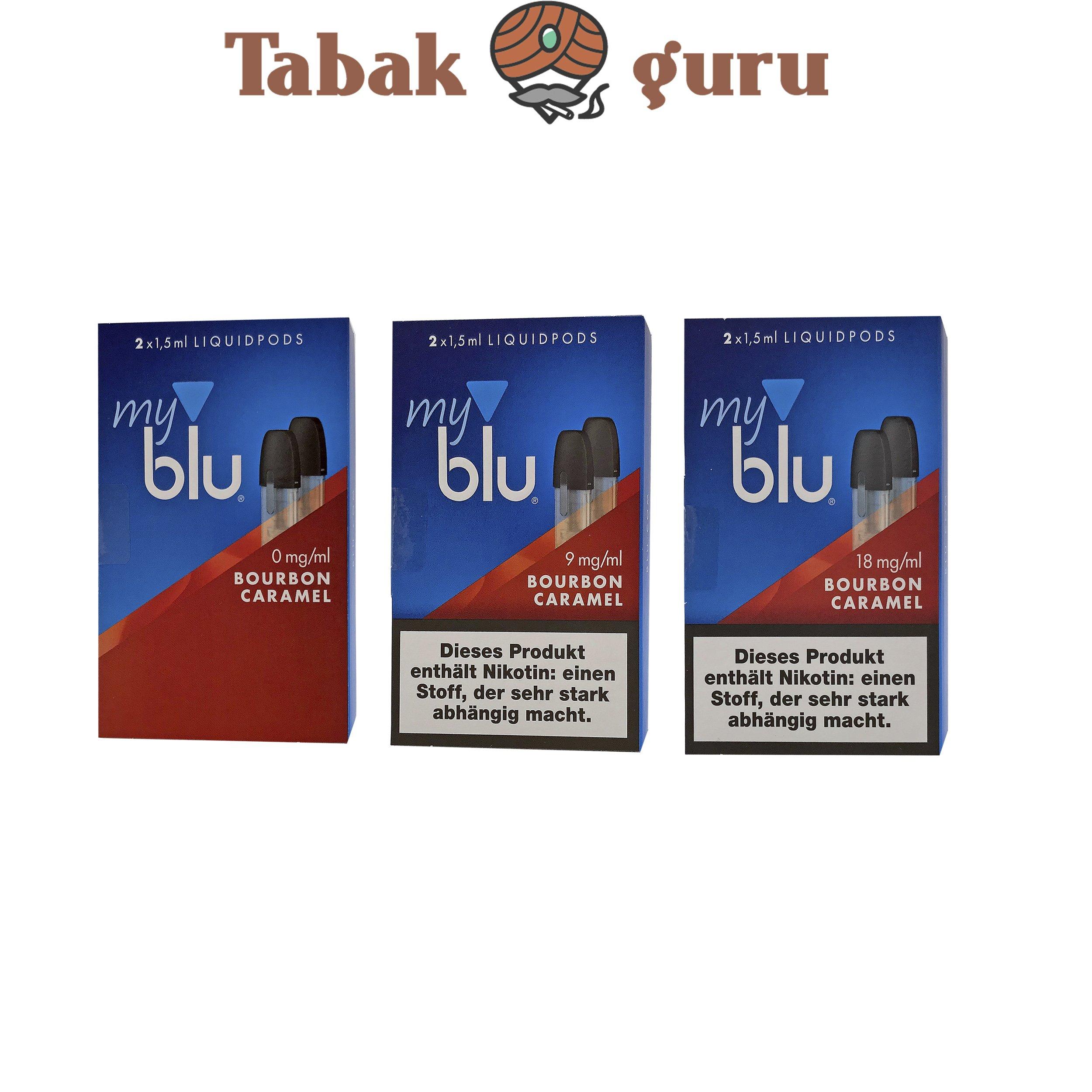 3x My Blu Liquid Pods Bourbon Caramel 0 mg / 9 mg / 18 mg