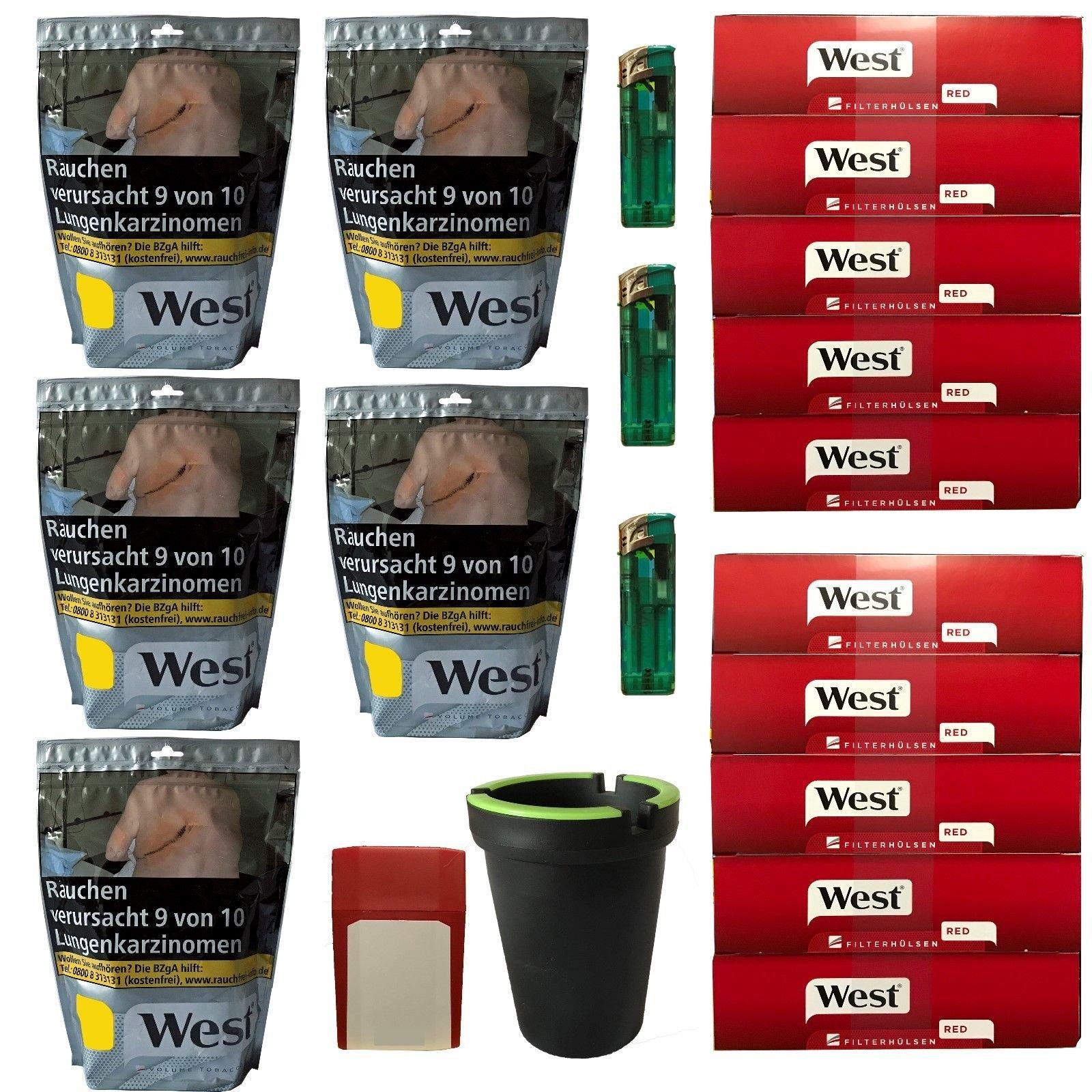 5x West Silver Tabak à 105g Volumentabak, Hülsen, Feuerz, Aschenb., Box[West Silber Hülsen]