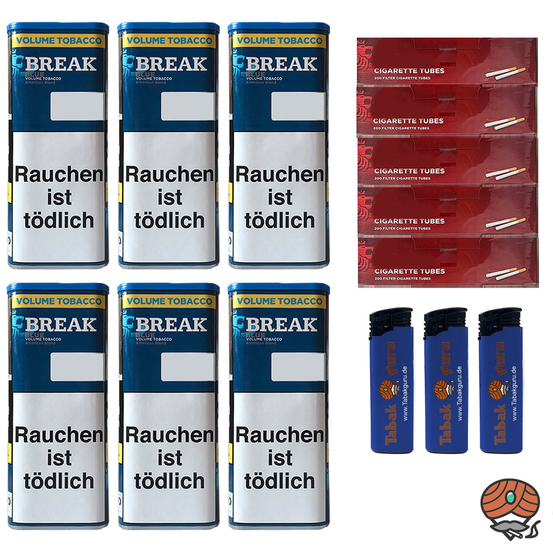 6x Break Blue/Blau XXL Volumentabak 115g, 1.000 Hülsen, 3 Feuerzeuge