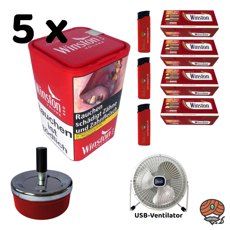 5x Winston Red/Rot Volumentabak 96 g XL Dose + Extra Hülsen + USB Ventilator