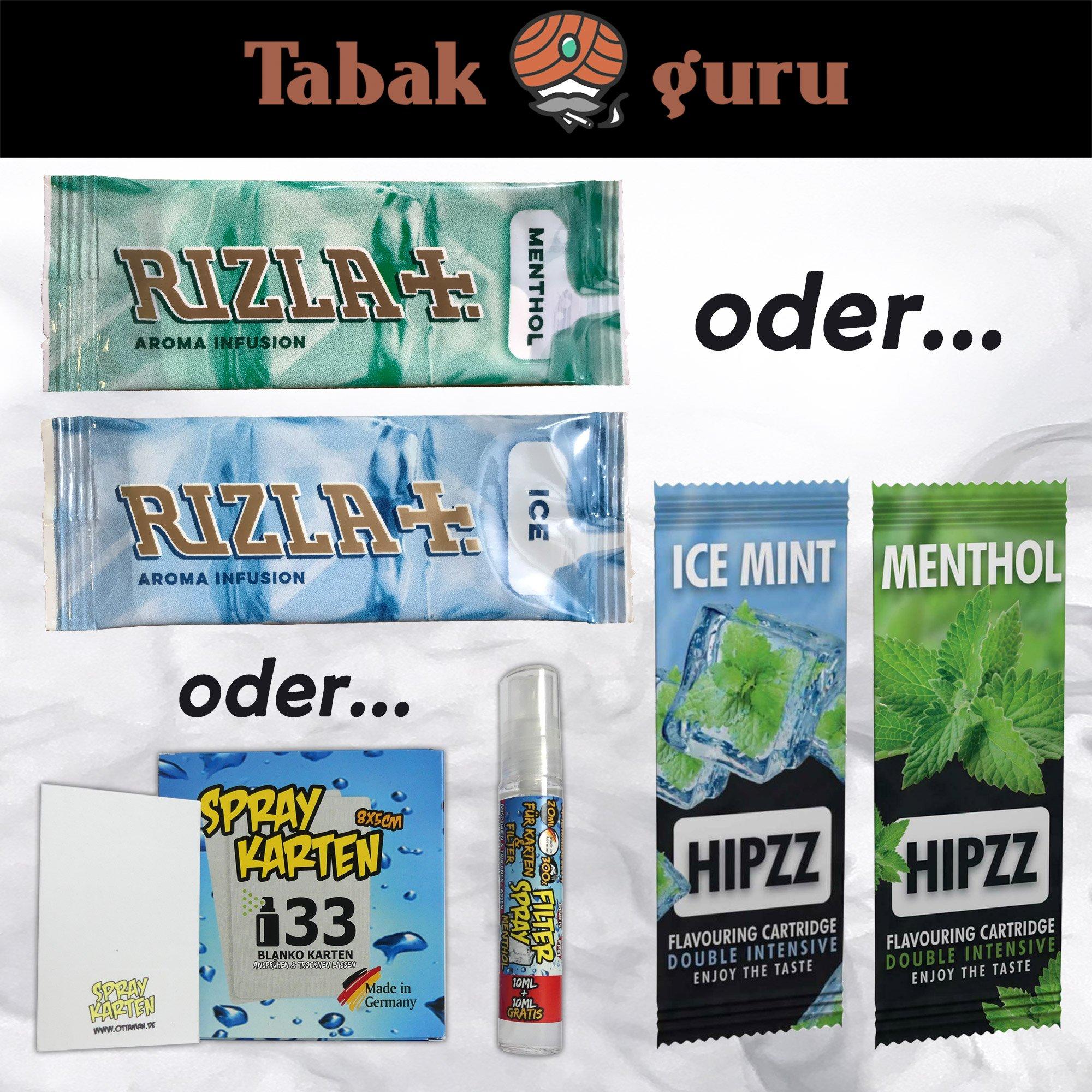 10 x Aromakarte Rizla ICE / MENTHOL, HIPZZ ICE / MENTHOL, Menthol-Spray WÄHLBAR