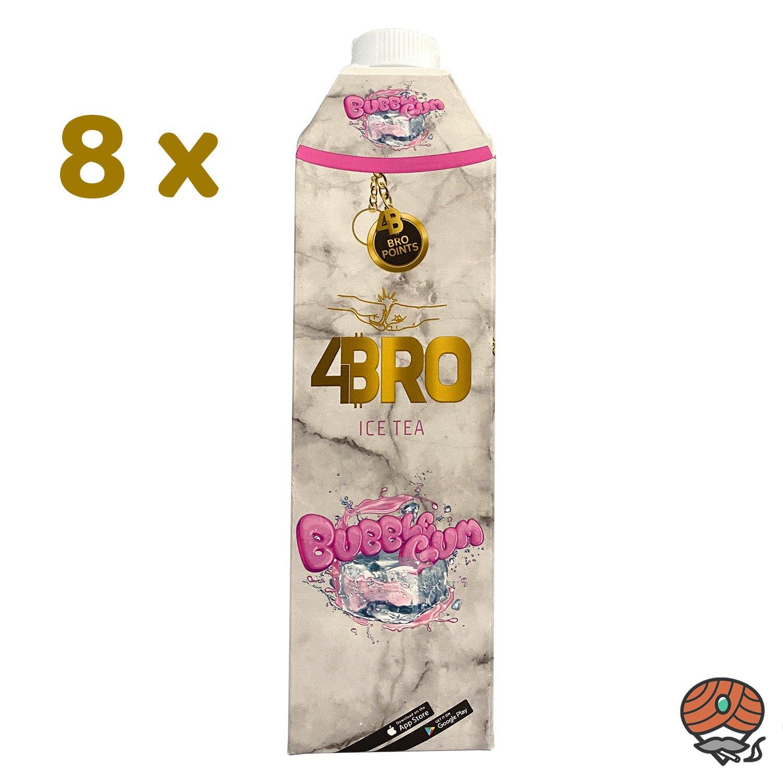 8 x 4BRO ICE TEA Eistee 1 Liter BUBBLE GUM Kaugummi-Geschmack