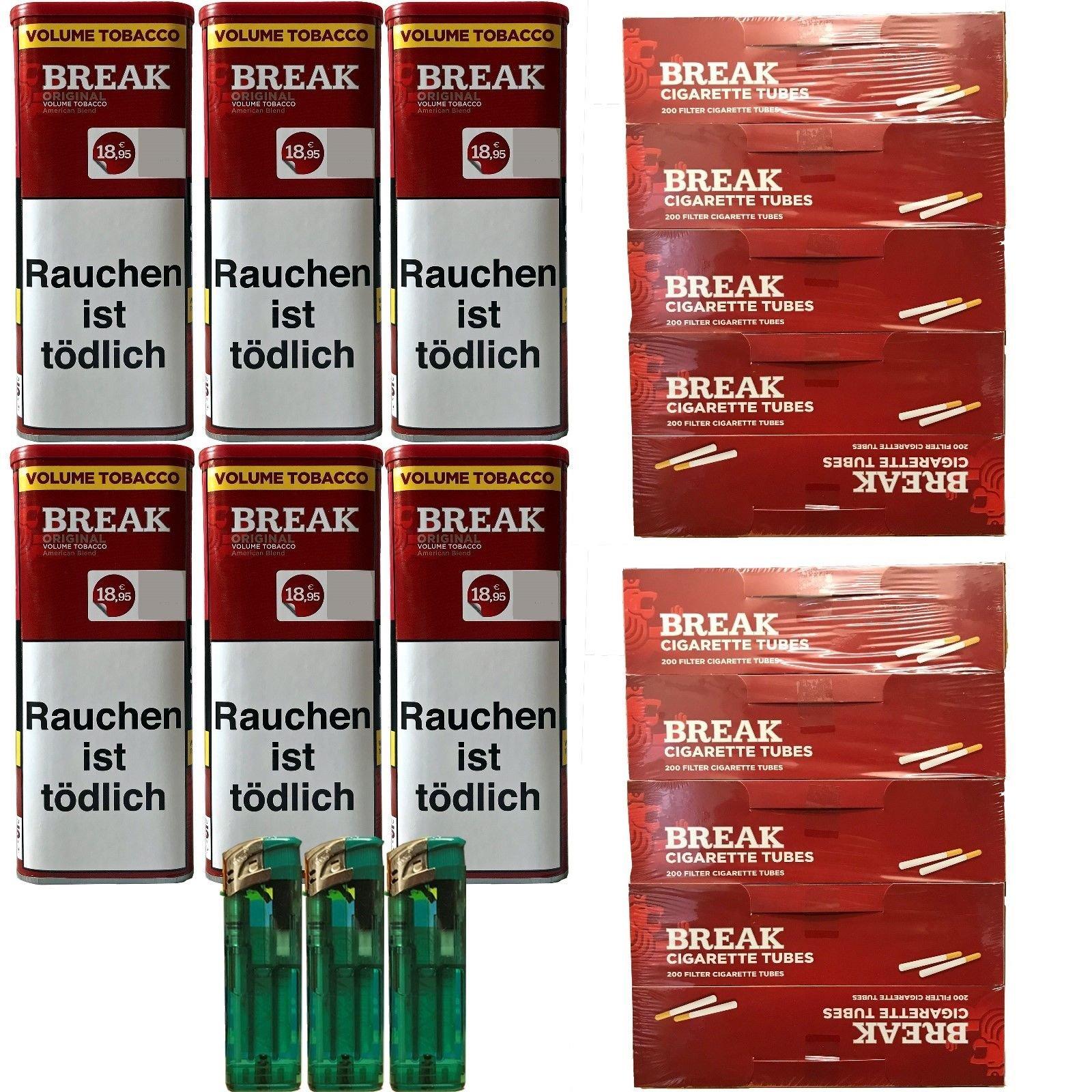 6x Break Original XXL Tabak 120g Dosen (Volumentabak) + 2.000 Hülsen + 3 Feuerzeuge