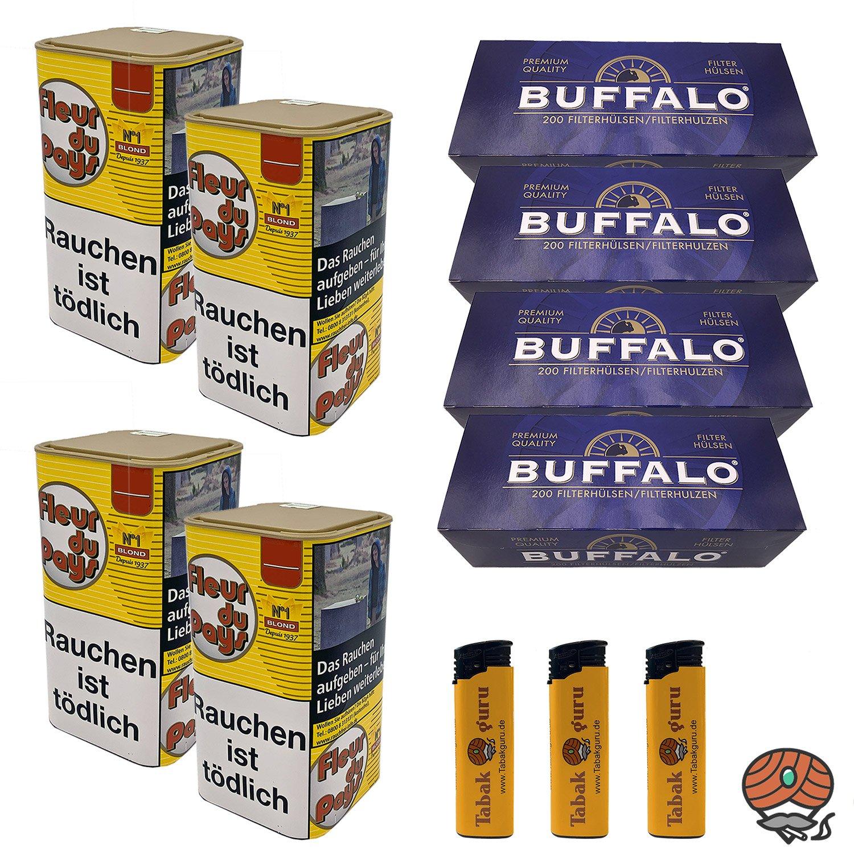 4 x Fleur du Pays No 1 Blond Feinschnitt-Tabak 160 g + 4 x Buffalo Blau Hülsen + mehr