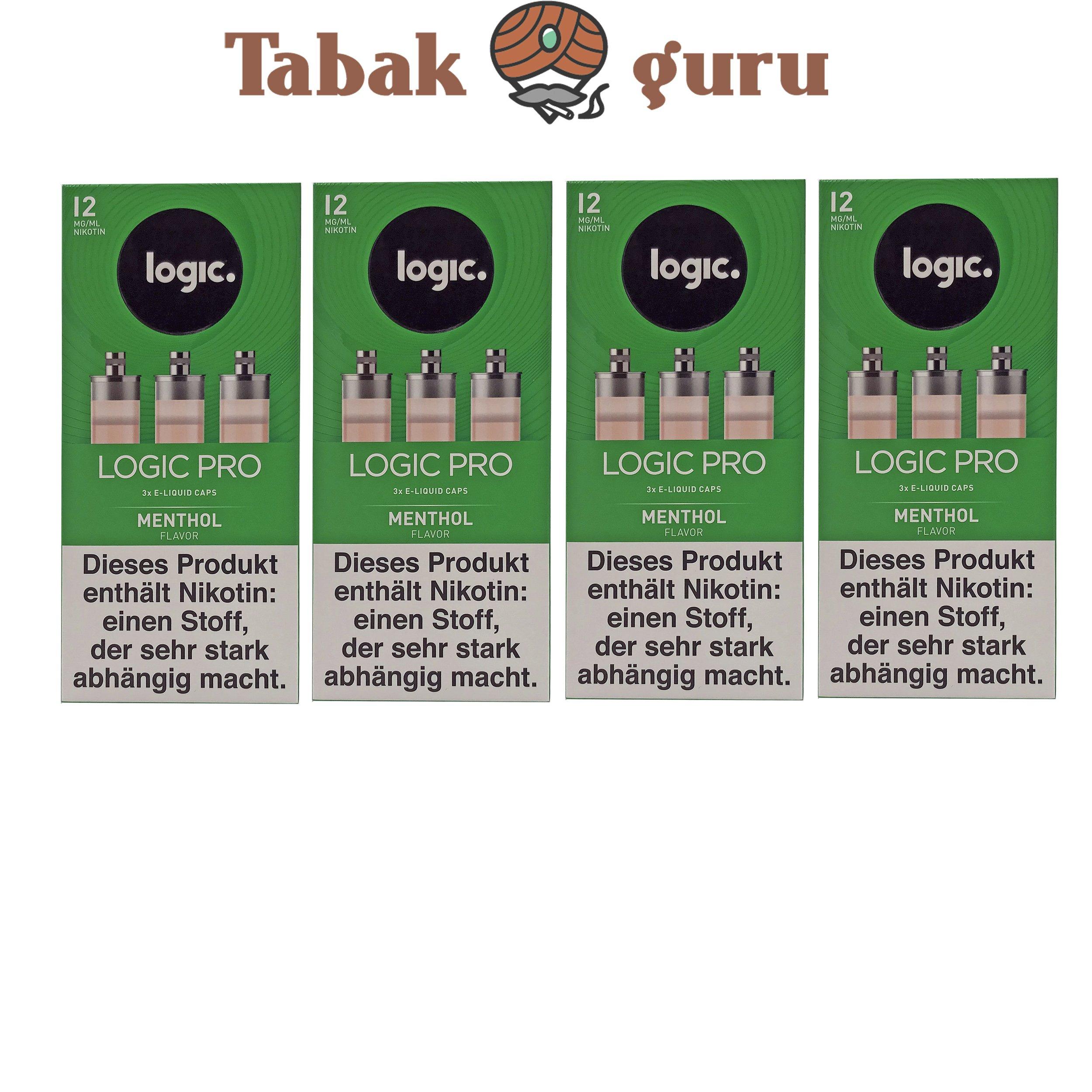 Logic Pro e-Liquid 4 Pack Caps Menthol 12 mg/ml