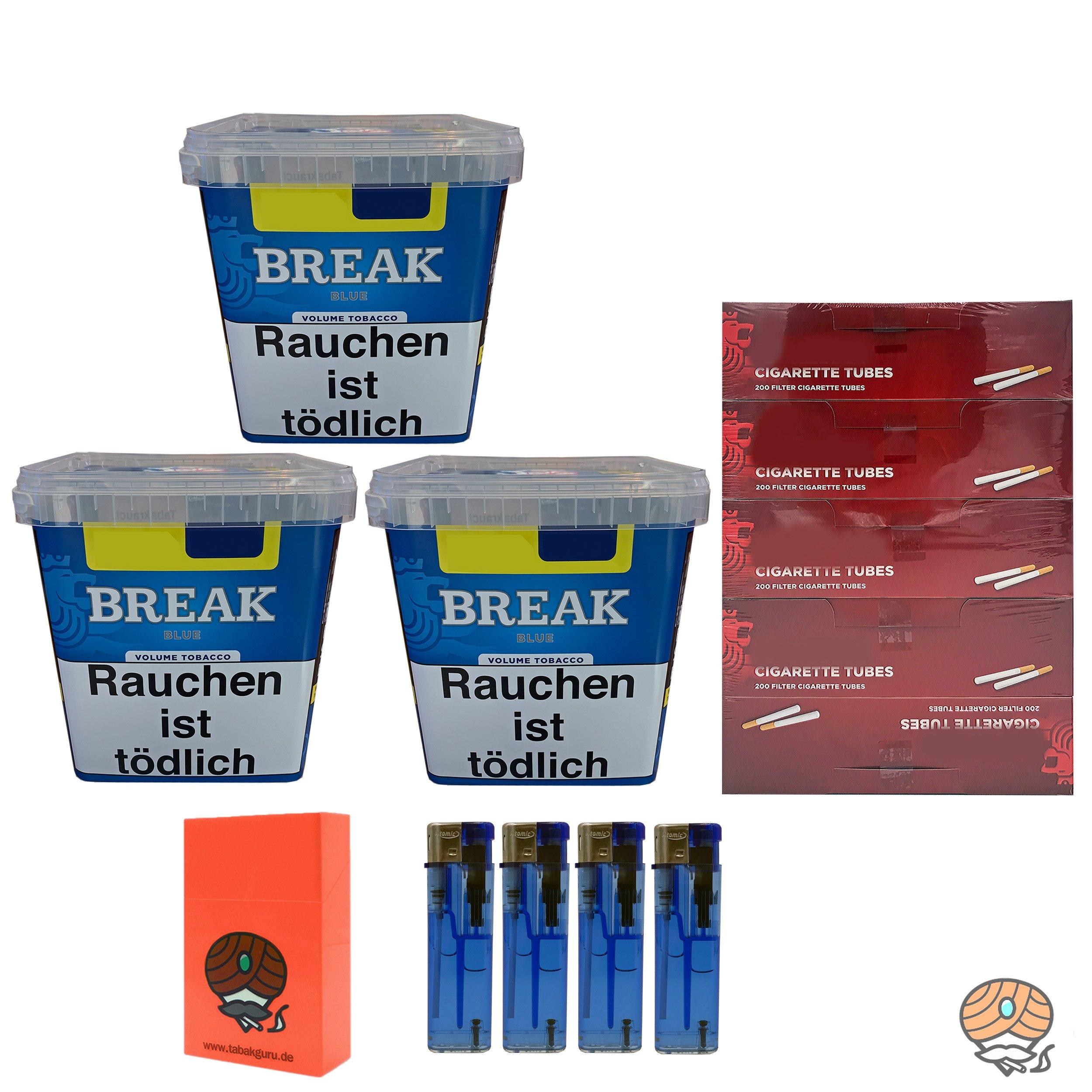 3x Break Blue/ Blau Volumentabak Giga Box 230g + 1000 Hülsen + Zubehör