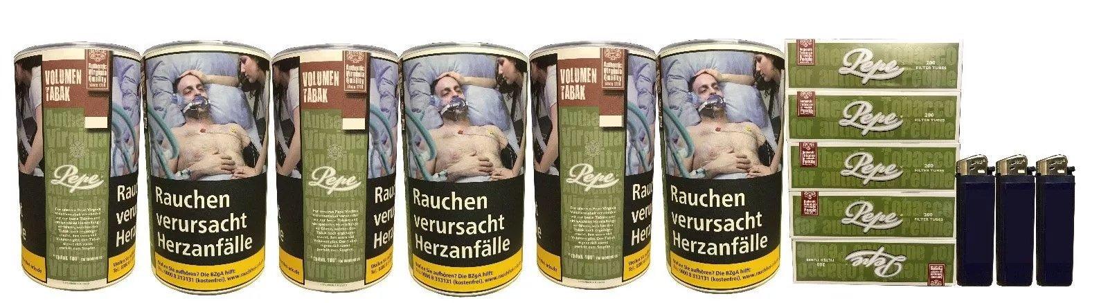 6x Pepe Rich Green Tabak / Volumentabak 85g + Hülsen und Feuerzeuge