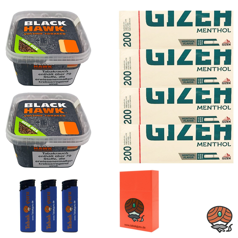 2 x Black Hawk Volumentabak 230 g Mega Box + 4 x Gizeh Menthol Hülsen + weiteres