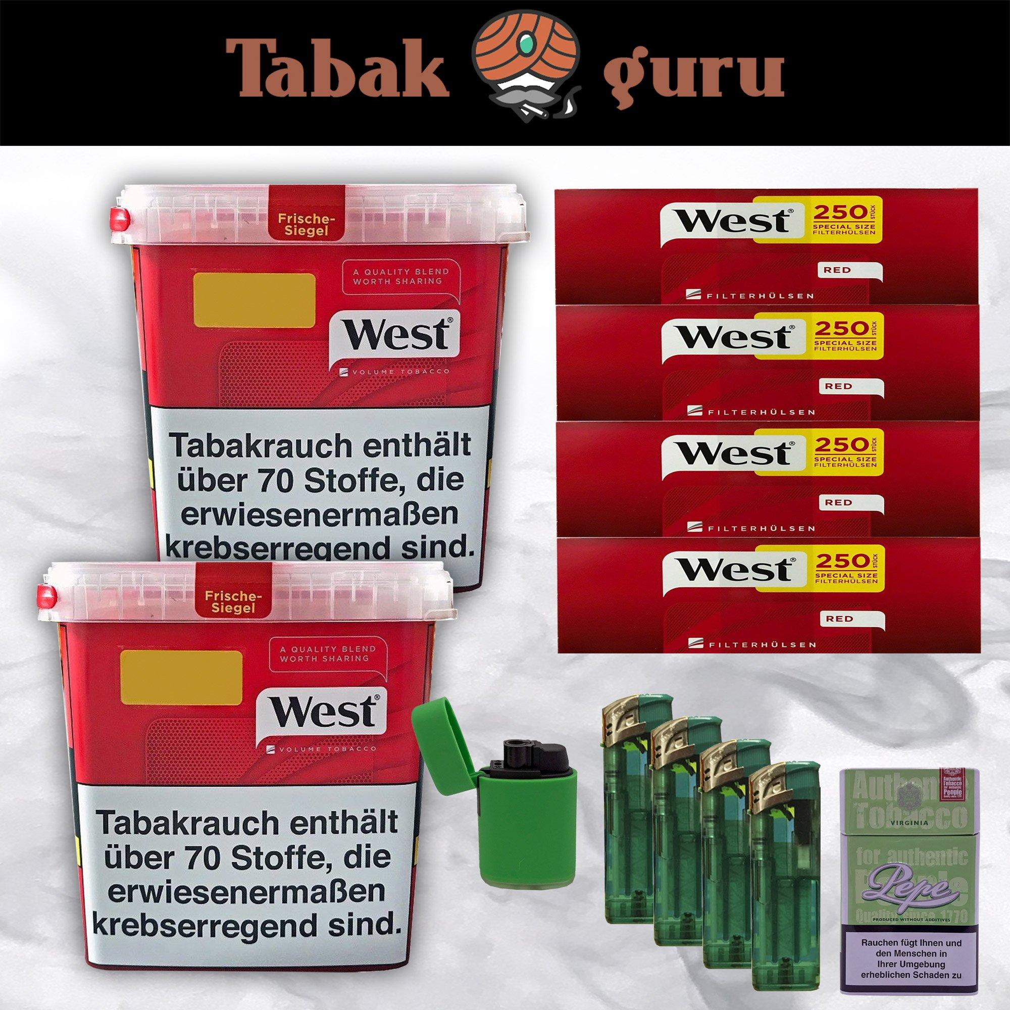 2x West Tabak / Volumentabak Giga Box 280 g, West Extra Hülsen + Zubehör