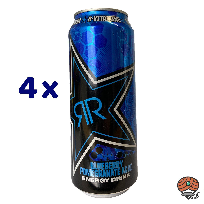 4 x Rockstar, XDurance, Blueberry Pomegranate Acai, Energy Drink, 500 ml Dose
