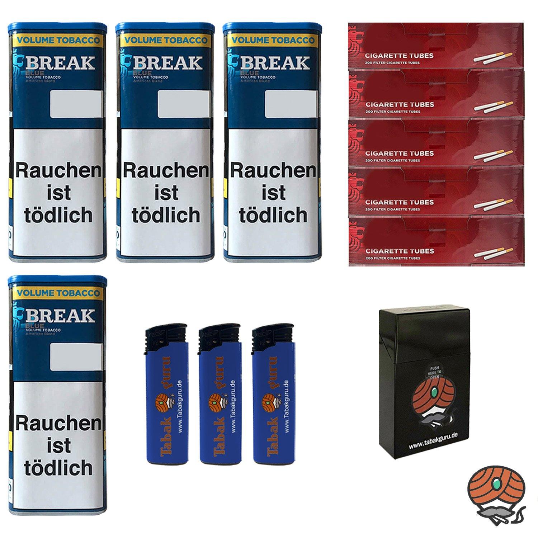 4x Break Blue/Blau XXL Volumentabak 115g, Hülsen, 3 Feuerzeuge, Box