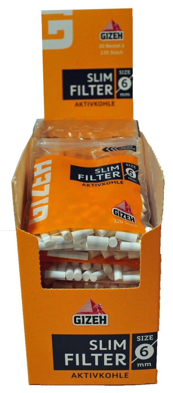 20 Beutel Gizeh Slim Filter Aktivkohle à 120 Filter