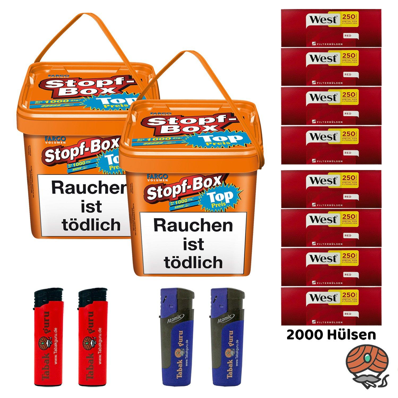 2 x Fargo Stopf-Box 480 g Volumentabak + 2.000 West Extra-Hülsen + Zubehör