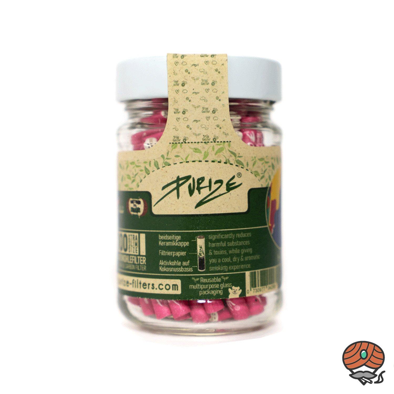 Purize Glas 100er Aktivkohlefilter XTRA SLIM pink