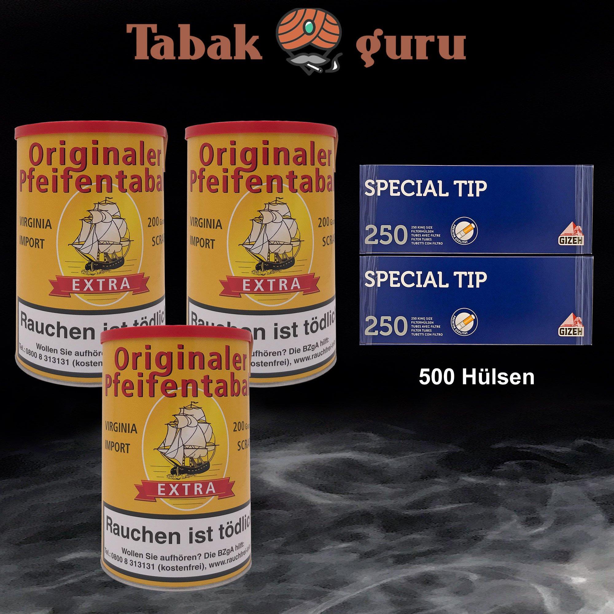 3 x Originaler Pfeifentabak Extra á 200g + 500 Gizeh Special Tip Hülsen