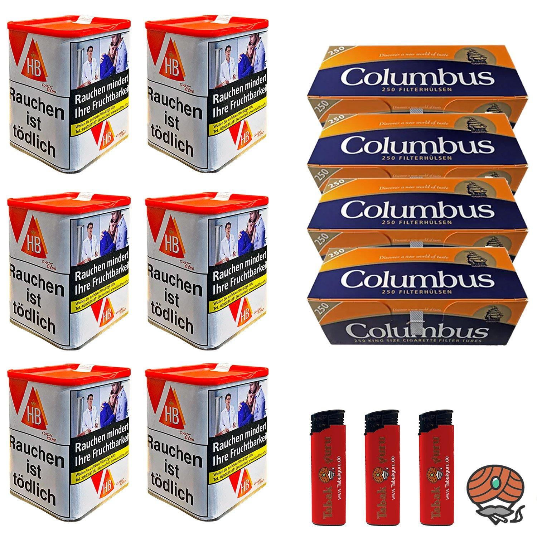 6 x HB Classic Blend Feinschnitt 90 g Dose + 1500 Columbus Hülsen + mehr