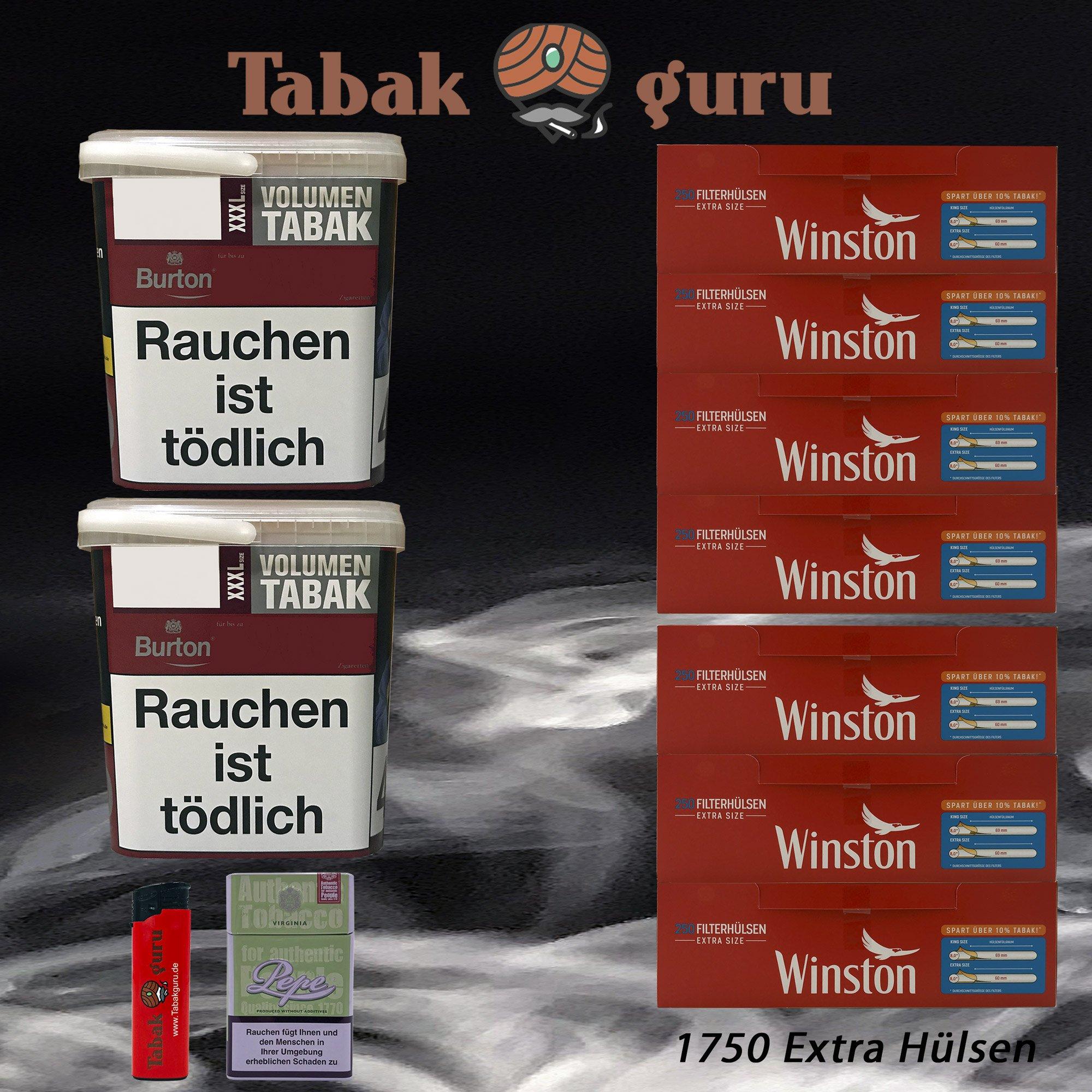 2x Burton Red Volumentabak / Zigarettentabak XXXL Eimer 370g + 1750 Winston Extra Hülsen