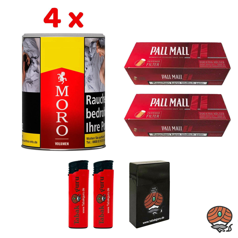 4 x Moro Rot Volumentabak 52 g Dose + 400 Pall Mall Red Extra Hülsen + Zubehör