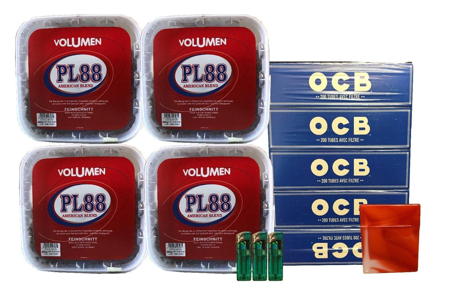 4x PL88 American Blend Tabak / Volumentabak 400g Eimer, OCB Hülsen + Zubehör