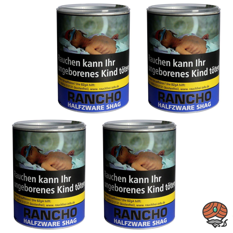 4 x Rancho Halfzware Shag Zigarettentabak Dose à 190 g