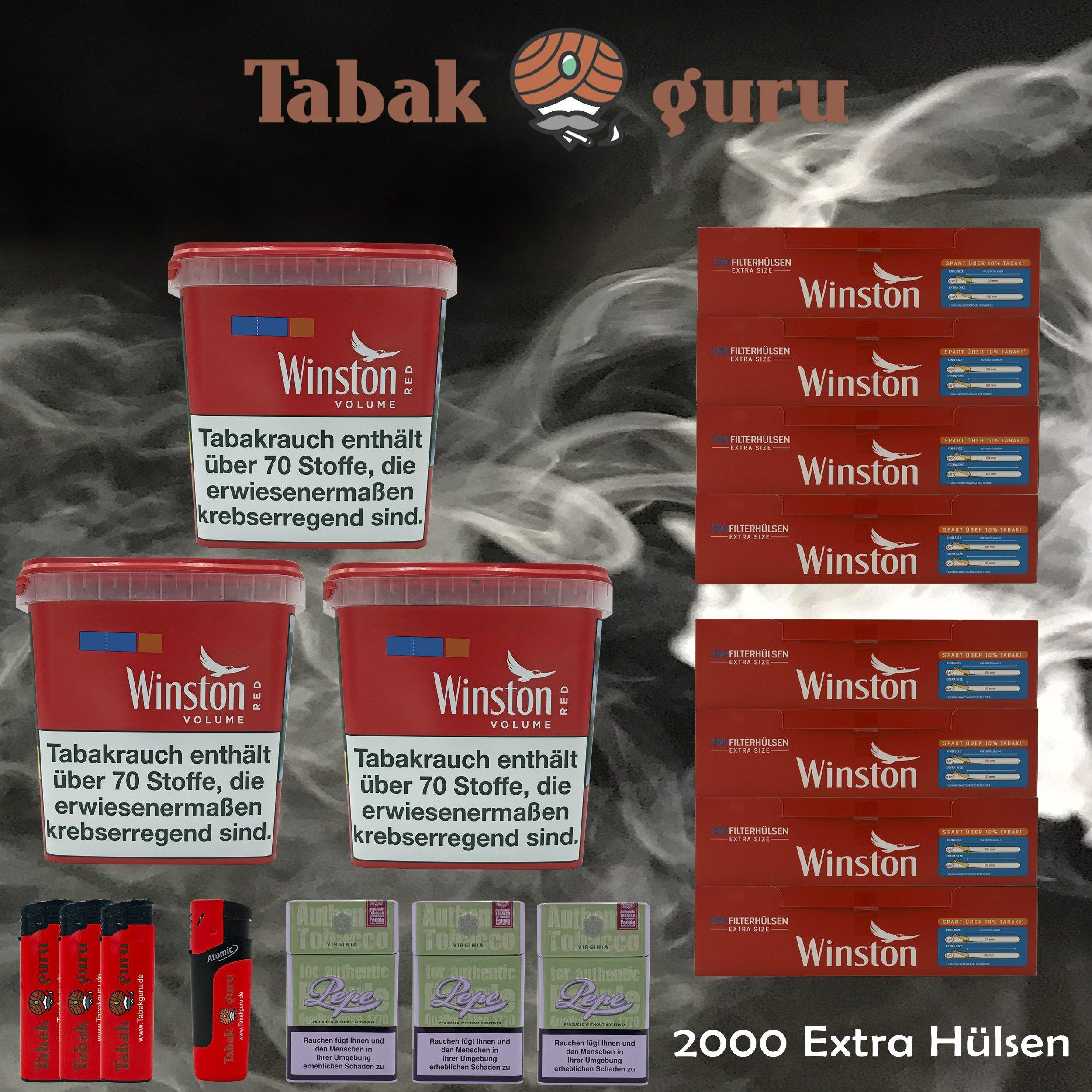 3x Winston Classic Red/Rot Giant Box 280g Volumentabak, 2000 Extra Hülsen, Zubehör