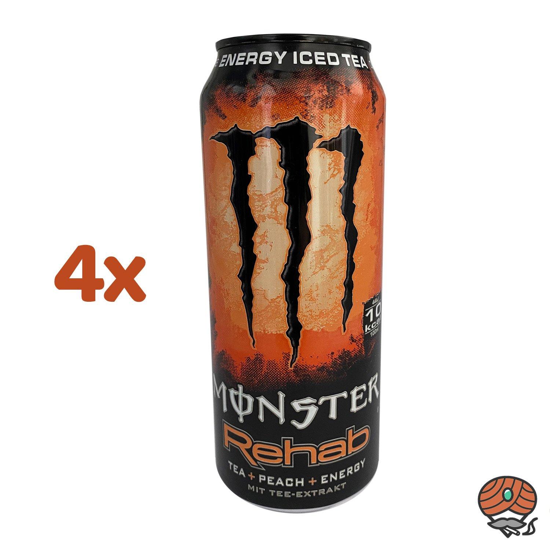 4 x Monster Rehab Peach Iced Tea Energy Drink, 500 ml Dose