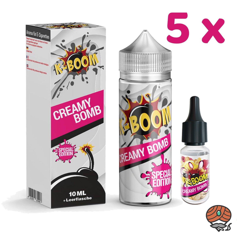 5 x K-BOOM Creamy Bomb 10 ml Aroma + Leerflasche, Longfill