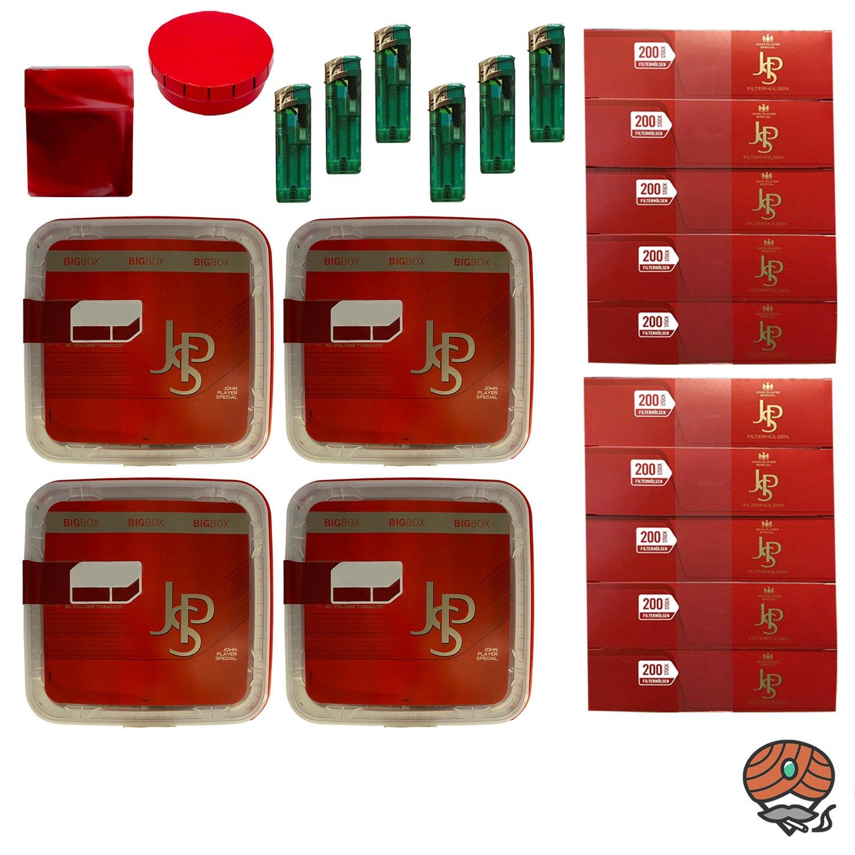 4x JPS John Player Special Big Box Volumentabak 127g, 2.000 JPS Hülsen, Feuerzeuge, Zubehör