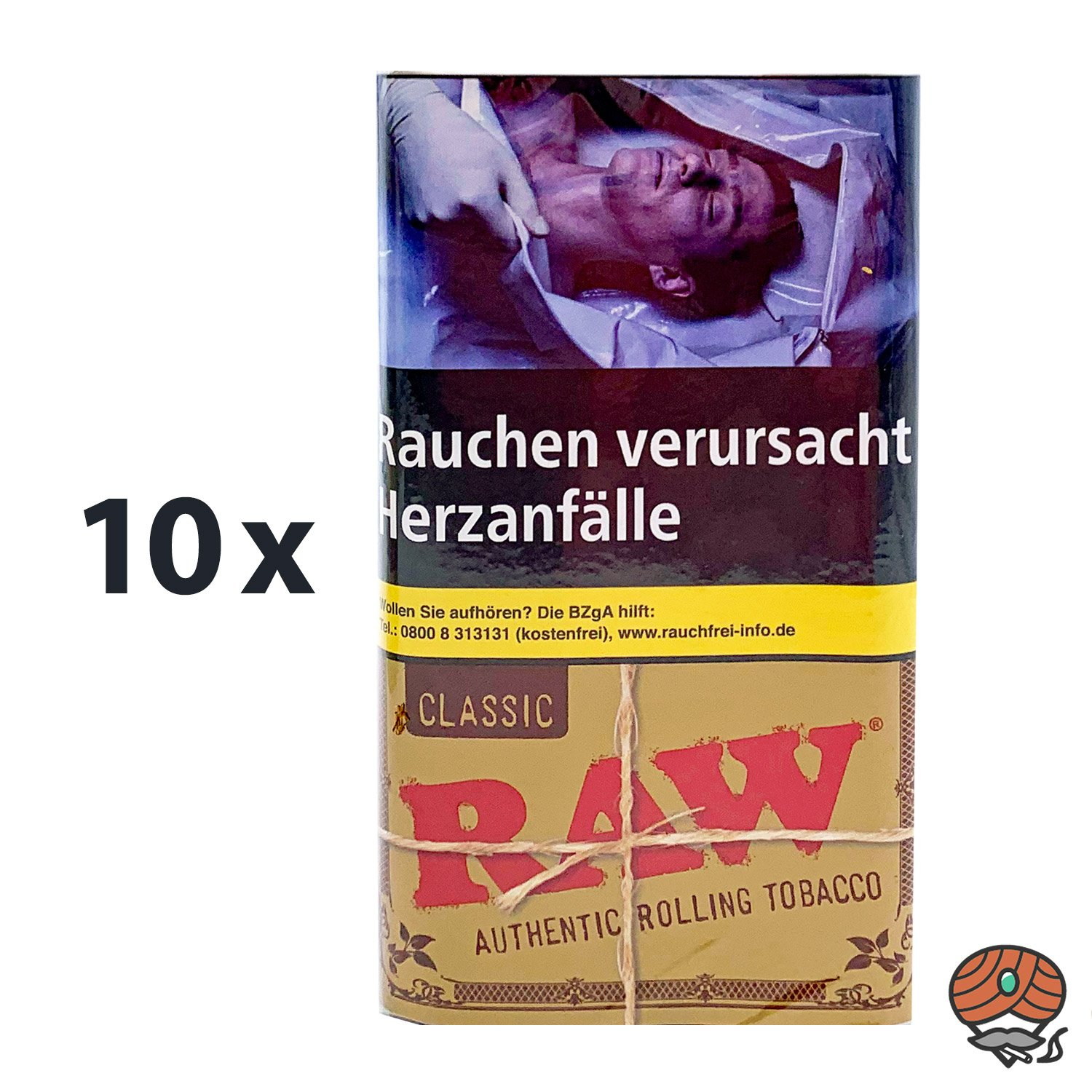 10 x RAW Classic Authentic Rolling Tabak / Drehtabak Pouches