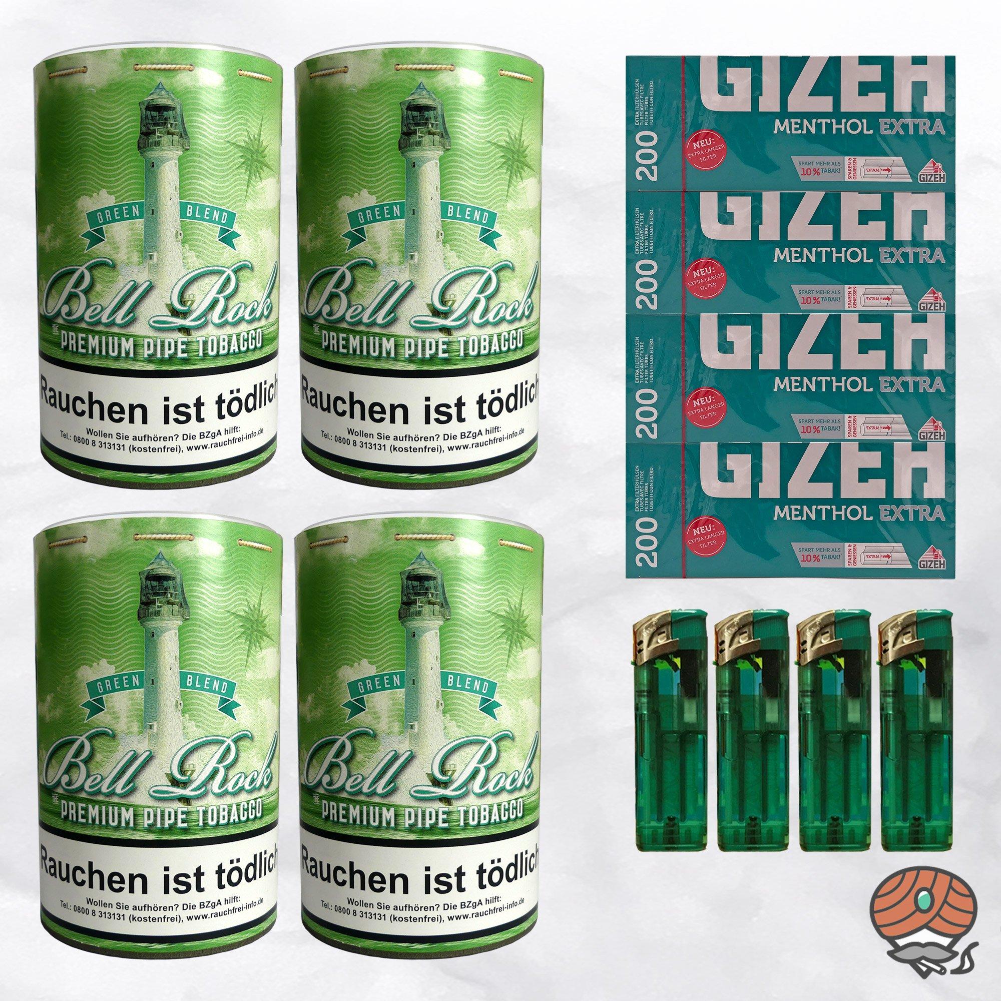 4 x Bell Rock Green Blend Menthol Pfeifentabak 160g Dose + 800 Menthol Extra-Hülsen