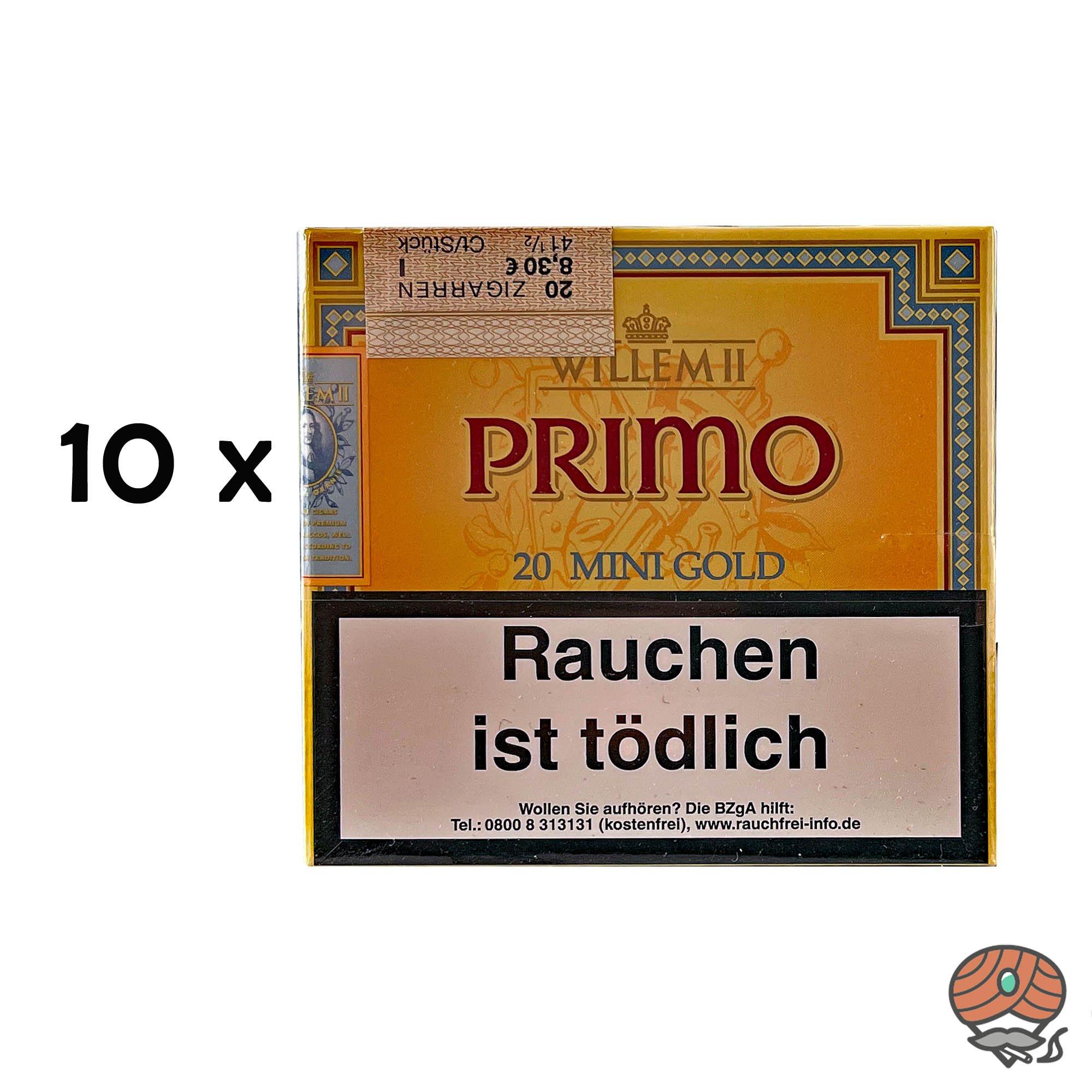 10 Schachteln Willem II Primo Mini Gold Zigarillos à 20 Stück