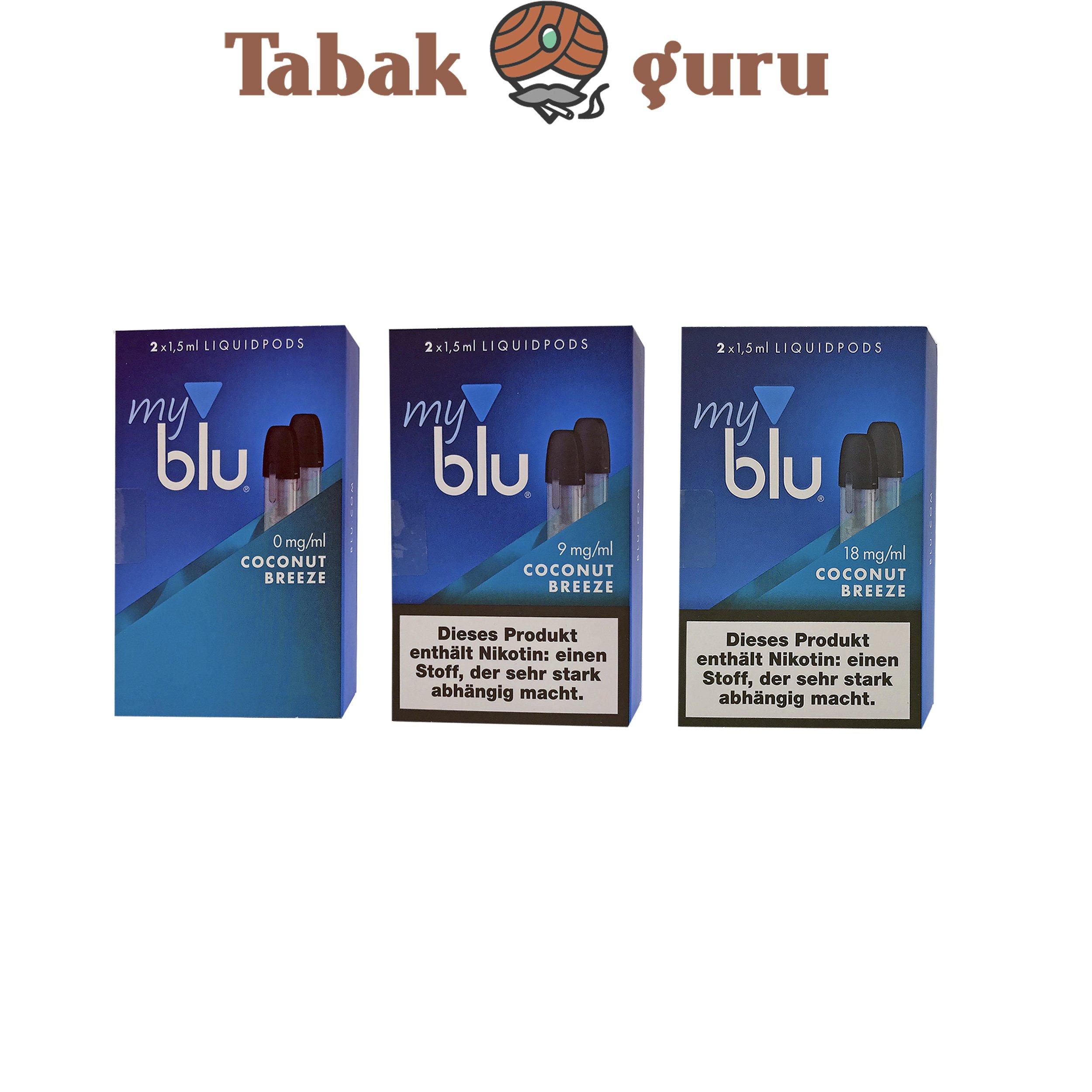 3x My Blu Liquid Pods Cococnut Breeze 0 mg / 9 mg / 18 mg
