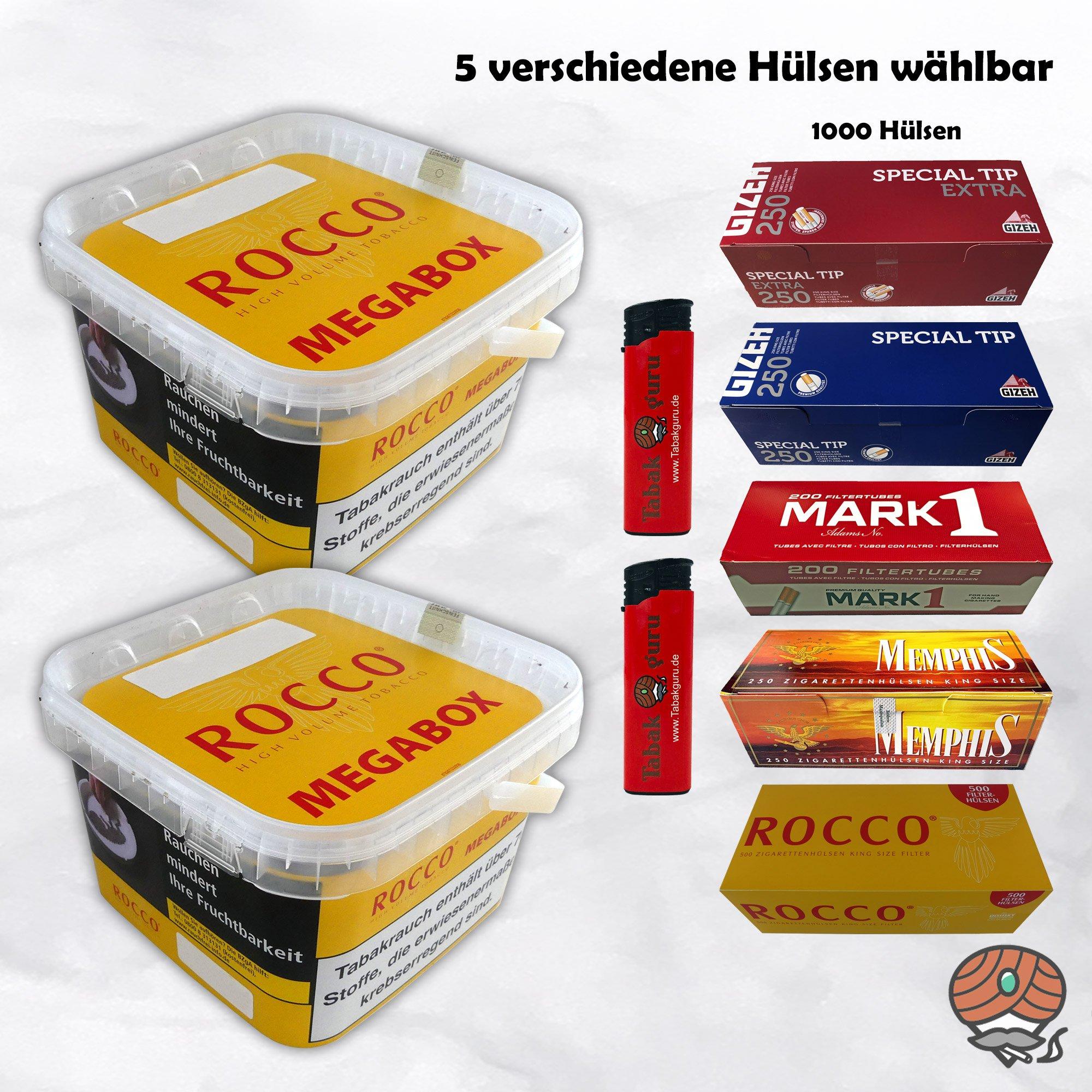 2 x ROCCO Volumentabak Gelb Megabox 210 g + 1.000 Hülsen wählbar - Angebot ohne Hülsen