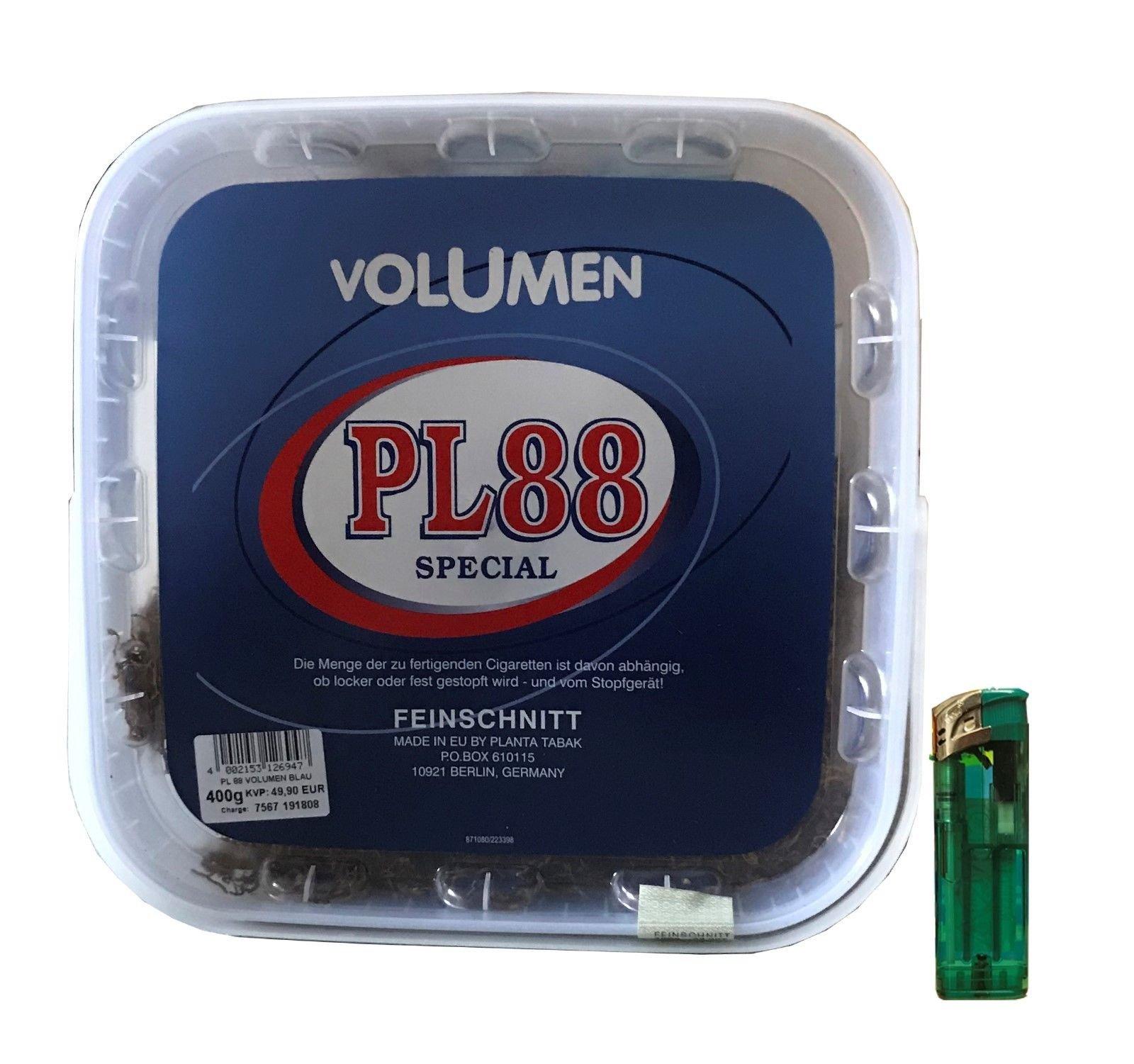 1x PL88 Special Blau Tabak / Volumentabak 400g + Feuerzeug
