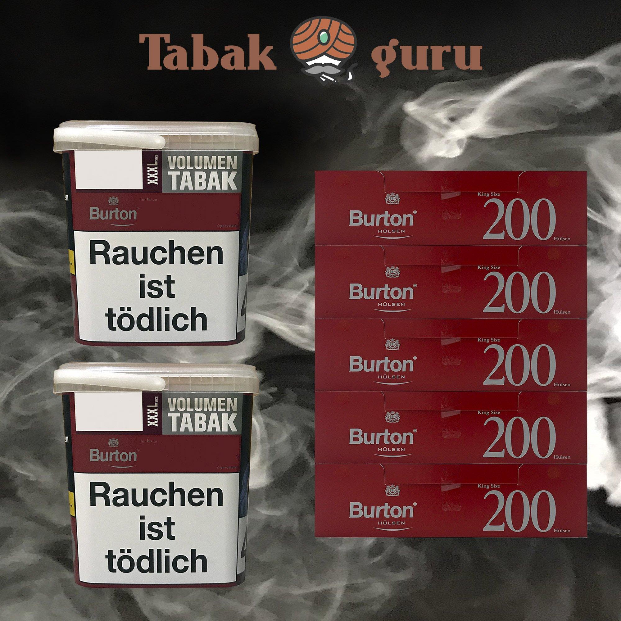 2x Burton Red Volumentabak / Zigarettentabak XXXL Eimer 370g, 1.000 Hülsen