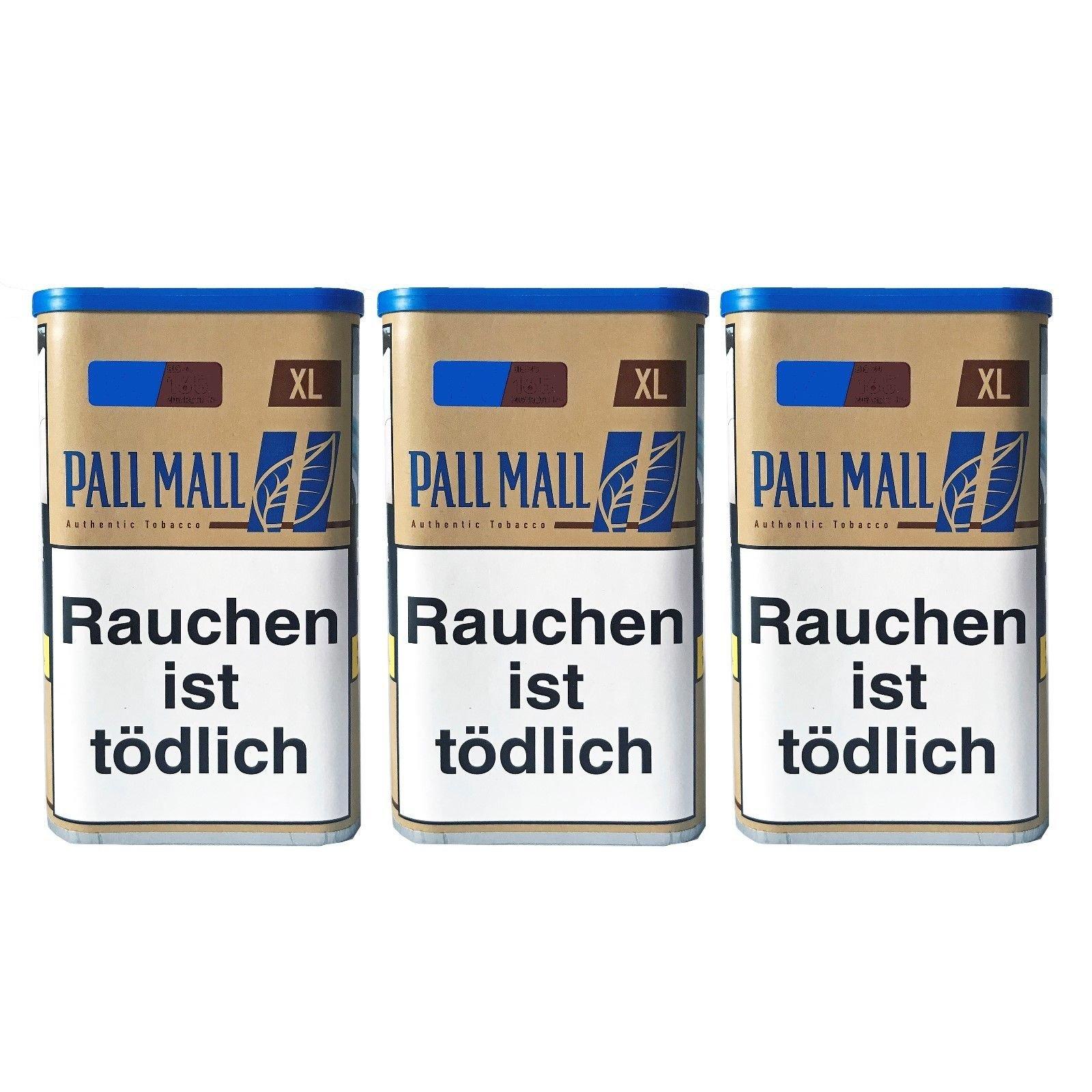 3x Pall Mall Authentic Blue / Blau XL Dose Zigarettentabak/Stopftabak Inhalt 60 g