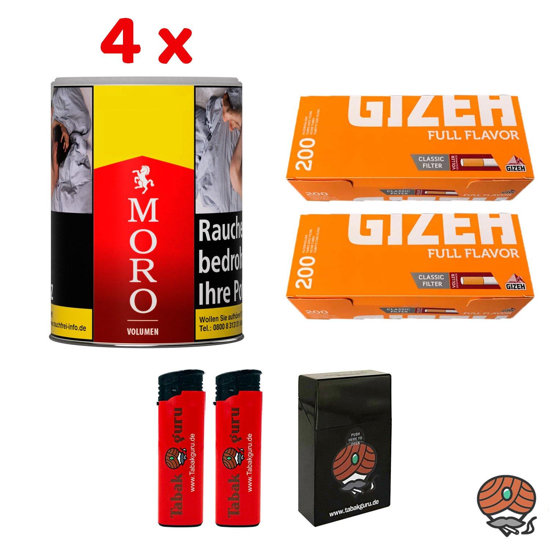 4 x Moro Rot Volumentabak 52 g Dose + 400 Gizeh Full Flavor Hülsen + Zubehör
